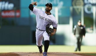 Colorado Rockies starting pitcher Antonio Senzatela delivers a pitch to San Francisco Giants' Brandon Belt in the first inning of a baseball game Saturday, April 22, 2017, in Denver. (AP Photo/David Zalubowski)