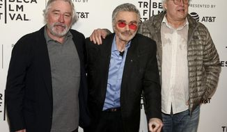 """Robert De Niro, from left, Burt Reynolds and Chevy Chase attend the screening of """"Dog Years,"""" during the 2017 Tribeca Film Festival, at Cinepolis Chelsea on Saturday, April 22, 2017, in New York. (Photo by Andy Kropa/Invision/AP)"""