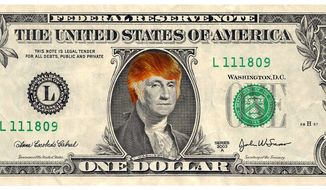 Illustration on the Trump dollar by Alexander Hunter/The Washington Times