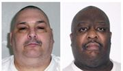 This combination of undated file photos provided by the Arkansas Department of Correction shows death-row inmates Jack Jones, left, and Marcel Williams. The two Arkansas inmates scheduled to be put to death Monday, April 24, 2017, in what could be the nation's first double execution in more than 16 years have asked an appeals court to halt their lethal injections because of poor health. (Arkansas Department of Correction via AP, File)