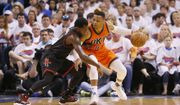 Oklahoma City Thunder guard Russell Westbrook, right, drives against Houston Rockets guard Patrick Beverley, left, in the first quarter of Game 4 of a first-round NBA basketball playoff series in Oklahoma City, Sunday, April 23, 2017. (AP Photo/Sue Ogrocki)