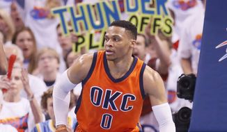 Oklahoma City Thunder guard Russell Westbrook (0) is pictured in Game 4 of a first-round NBA basketball playoff series against the Houston Rockets in Oklahoma City, Sunday, April 23, 2017. (AP Photo/Sue Ogrocki)