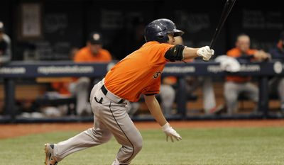 Houston Astros' Norichika Aoki, of Japan, singles off Tampa Bay Rays starter Matt Andriese during the fourth inning of a baseball game Sunday, April 23, 2017, in St. Petersburg, Fla. (AP Photo/Steve Nesius)
