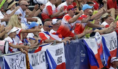 Czech Republic fans cheer during a Fed Cup semifinal doubles tennis match between Czech Republic's Kristyna Pliskova, and Katerina Siniakova against the United States team, CoCo Vandeweghe and Bethanie Mattek-Sands, Sunday, April 23, 2017, in Wesley Chapel, Fla. (AP Photo/John Raoux)