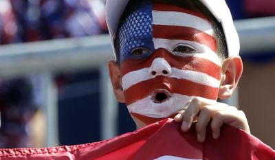 A fan cheers for the United States team during a Fed Cup semifinal tennis match between the United States' CoCo Vandeweghe and the Czech Republic's Katerina Siniakova, Sunday, April 23, 2017, in Wesley Chapel, Fla. (AP Photo/John Raoux)