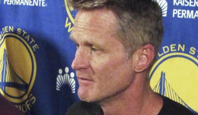 Golden State Warriors coach Steve Kerr speaks to members of the media in Portland, Ore., Sunday, April 23, 2017. Kerr announced he won't be on the sidelines for the NBA basketball team's Game 4 playoff game against the Portland Trail Blazers on Monday night. (AP Photo/Anne Peterson)