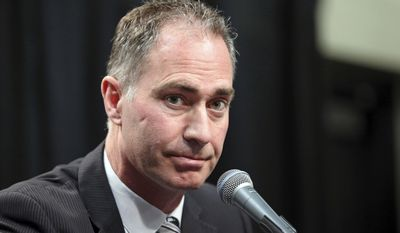 John Stevens speaks during his introduction as the new head coach of the Los Angeles Kings at a news conference at the NHL hockey club's home at Staples Center in Los Angeles, Monday, April 24, 2017. Stevens has most recently served as the club's associate head coach. He has been part of the Kings coaching staff the past seven seasons. (AP Photo/Reed Saxon)