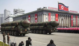 In this April 15, 2017, photo, missiles are paraded across Kim Il Sung Square during a military parade to celebrate the 105th birth anniversary of Kim Il Sung in Pyongyang, North Korea. Fresh off an immense North Korean parade that revealed an arsenal of intercontinental ballistic missiles, rival South Korea and its allies are bracing for the possibility that Pyongyang's follow-up act will be even bigger. (AP Photo/Wong Maye-E)