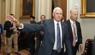 Vice President Mike Pence waves as he arrives for a Republican policy luncheon on Capitol Hill in Washington, Tuesday, April 25, 2017. (AP Photo/Alex Brandon)