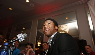 FILE - In this July 12, 2016, file photo, Texas A&M defensive linebacker Myles Garrett speaks to the media at the Southeastern Conference NCAA college football media days, in Hoover, Ala. Garrett is a possible first pick in the NFL Draft in Philadelphia on Thursday, April 27, 2017. (AP Photo/Brynn Anderson)