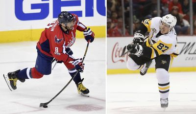 FILE - At left, in a  Jan. 11, 2017, file photo, Washington Capitals left wing Alex Ovechkin (8), of Russia, winds up for a shot during the second period of an NHL hockey game against the Pittsburgh Penguins, in Washington. At right, in a Jan. 14, 2017, file photo, Pittsburgh Penguins center Sidney Crosby (87) shoots against the Detroit Red Wings in the first period of an NHL hockey game  in Detroit. To get to their first Eastern Conference final in the past decade, Ovechkin and the Capitals will have to go through the Crosby and the Penguins, who have quite simply had their number in the playoffs. (AP Photo/File)