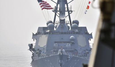 This photo provided by South Korean Defense Ministry shows the destroyer USS Wayne E. Meyer during a joint exercises between the United States and South Korea in South Korea's West Sea Tuesday, April 25, 2017. South Korea's military said Tuesday that North Korea held major live-fire drills in an area around its eastern coastal town of Wonsan as it marked the anniversary of the founding of its military. (South Korean Defense Ministry via AP)