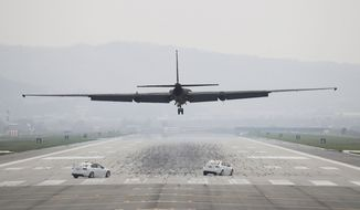 A U.S. Air Force U-2 spy plane prepares to land at Osan Air Base in South Korea. South Korea's military said Tuesday that North Korea held major live-fire drills in an area around its eastern coastal town of Wonsan as it marked the anniversary of the founding of its military. (Associated Press)