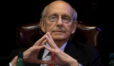 FILE - In this Feb. 13, 2017 file photo, Supreme Court Justice Stephen Breyer listens in Boston. Even Supreme Court justices forget to turn off their cellphones. A high court argument on Tuesday, April 25, 2017, was interrupted by the familiar sound of a ring chime, and Justice Stephen Breyer was the culprit. (AP Photo/Steven Senne, File)