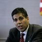 Judge Amul Thapar, President's Trump nominee for an appeals court vacancy, was taken to task by Democrats in his confirmation hearing over his considering campaign contributions to be political speech. (Associated Press) ** FILE **