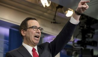 Treasury Secretary Steve Mnuchin takes a question in the briefing room of the White House in Washington, Wednesday, April 26, 2017, where he discussed President Donald Trump tax proposals. (AP Photo/Andrew Harnik)