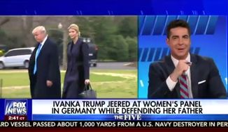 "Fox News personality Jesse Watters was forced to issue a clarification Wednesday morning after his joke about Ivanka Trump on ""The Five"" was widely interpreted as lewd. (Fox News)"