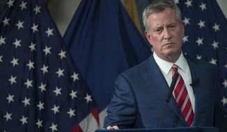 New York City Mayor Bill de Blasio speaks during a news conference, Wednesday, April 26, 2017, in New York's City Hall. The mayor released his $84.86 billion fiscal 2018 executive budget on Wednesday. (AP Photo/Mary Altaffer)