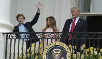 President Trump said first lady Melania Trump and son Barron will move to Washington after the school year and acknowledged that the transition is rough on his son, who will be leaving his friends behind. (Associated Press/File)