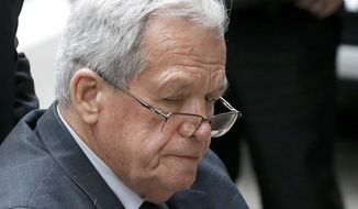 FILE - In this April 27, 2016, file photo, former House Speaker Dennis Hastert who is is serving a 15-month prison term in a sexual abuse case departs the federal courthouse in Chicago. State officials are poised to consider the status of the pension Hastert receives for the time he served in the Illinois General Assembly Wednesday April 27, 2017 in Springfield, Ill. The Illinois General Assembly Retirement System's board of trustees are scheduled to consider Hastert's $28,000 annual pension. (AP Photo/Charles Rex Arbogast, File)