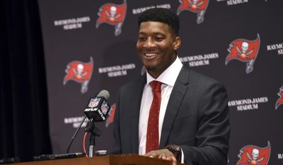 FILE - This Jan. 1, 2017 file photo shows Tampa Bay Buccaneers quarterback Jameis Winston (3) speaking to the media following an NFL football game against the Carolina Panthers in Tampa, Fla. The Buccaneers are seeking help for Winston. Whether the team uses the 19th pick in the NFL draft to select another offensive playmaker or to try to bolster an improving defense, the opening round is all about adding someone who increases Winston's chances of being successful. (AP Photo/Jason Behnken)