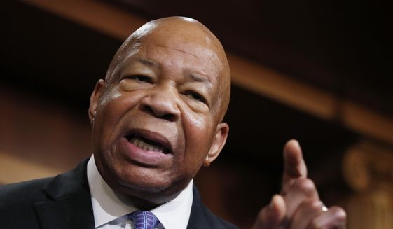 """Rep. Elijah Cummings, D-Md., ranking member on the House Oversight Committee, speaks to reporters during a news conference on Capitol Hill in Washington, Thursday, April 27, 2017. Documents released by lawmakers show President Donald Trump's former national security adviser, Michael Flynn, was warned when he retired from the military in 2014 not to take foreign money without """"advance approval"""" by Pentagon authorities. (AP Photo/Manuel Balce Ceneta)"""
