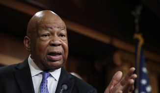 Rep. Elijah Cummings, D-Md., ranking member on the House Oversight Committee, speaks to reporters during a news conference on Capitol Hill in Washington, Thursday, April 27, 2017. (AP Photo/Manuel Balce Ceneta)
