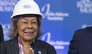 Rachel Robinson, widow of Jackie Robinson, smiles during a ceremonial ground breaking for the Jackie Robinson Museum, Thursday, April 27, 2017, in New York. (AP Photo/Mary Altaffer)