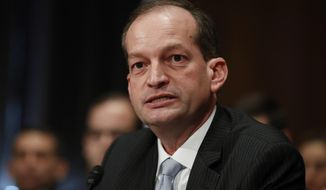 Labor secretary-designate Alexander Acosta testifies on Capitol Hill in Washington, in this March 22, 2017, file photo. (AP Photo/Manuel Balce Ceneta, File)