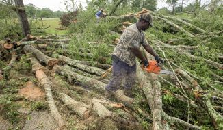 Workers clear scores of trees blown down on Stowers Road in Montgomery County, Ala., following morning storms on Thursday, April 27, 2017. (Mickey Welsh/The Montgomery Advertiser via AP)