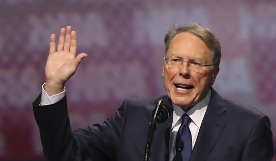 National Rifle Association Executive Vice President Wayne LaPierre speaks at  the National Rifle Association Leadership Forum, Friday, April 28, 2017, in Atlanta. (Curtis Compton/Atlanta Journal-Constitution via AP)