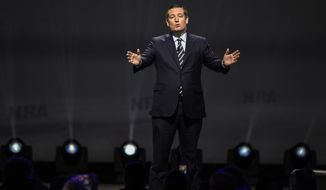 Sen. Ted Cruz, R-Texas speaks after President Donald Trump at the National Rifle Association-ILA Leadership Forum, Friday, April 28, 2017, in Atlanta. The NRA is holding its 146th annual meetings and exhibits forum at the Georgia World Congress Center. (AP Photo/Mike Stewart)