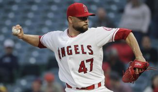 Los Angeles Angels starting pitcher Ricky Nolasco throws against the Oakland Athletics during the first inning of a baseball game, Thursday, April 27, 2017, in Anaheim, Calif. (AP Photo/Jae C. Hong)