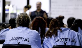 Inmates listen during a program at the Twin Towers Correctional Facility Thursday, April 27, 2017, in Los Angeles. One of the world's largest jail complexes is located in Los Angeles and within it resides perhaps the world's largest group of inmates whose mental illness is attributed to drug abuse, mainly from highly addictive methamphetamine. (AP Photo/Chris Carlson)