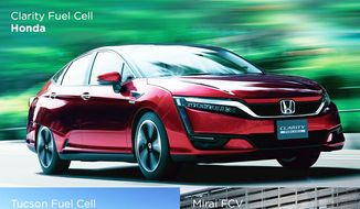 Fuel cell vehicles available for sale or lease today in California. Image courtesy of Fuel Cell & Hydrogen Energy Association.