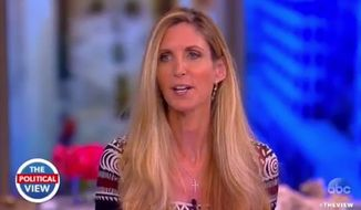 "Conservative author Ann Coulter and the predominantly liberal panel of ABC's ""The View"" found common ground Monday morning on the issue of free speech on college campuses. (ABC)"
