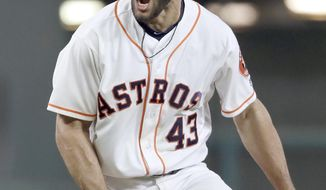 Houston Astros starting pitcher Lance McCullers Jr. yells after striking out Texas Rangers' Mike Napoli to end the top of the sixth inning of a baseball game, Monday, May 1, 2017, in Houston. (AP Photo/David J. Phillip)