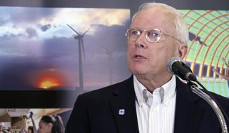 Sandia National Laboratories Director Stephen Younger discusses the future of the federal government's largest weapons and research facility now that it's under new management during a news conference in Albuquerque, N.M., Monday, May 1, 2017. (AP Photo/Susan Montoya Bryan)