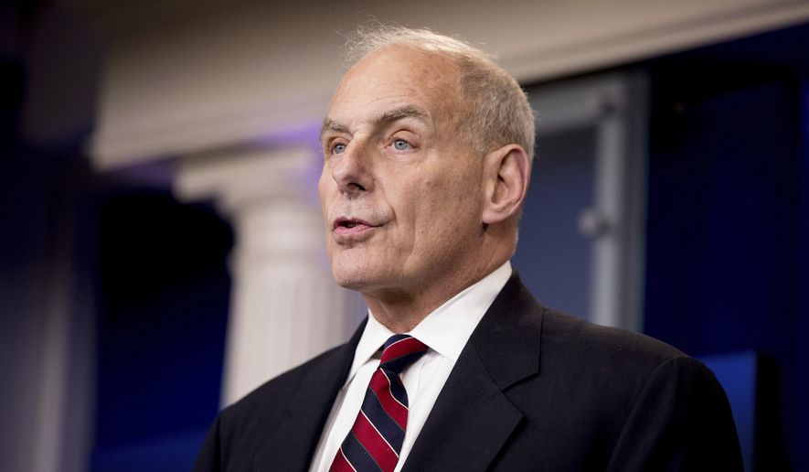 Homeland Security Secretary John Kelly talks to the media during the daily press briefing at the White House in Washington, Tuesday, May 2, 2017. (AP Photo/Andrew Harnik)