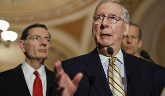 Senate Majority Leader Mitch McConnell of Ky., flanked by, Sen. John Barrasso, R-Wyo., left, and Sen. John Thune, R-S.D., speaks to reporters on Capitol Hill in Washington, Tuesday, May 2, 2017, following a policy luncheon. (AP Photo/Pablo Martinez Monsivais)