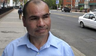 Luis Barrios poses for a photo, Tuesday, May 2, 2017, in Hartford, Conn. He is scheduled to be deported to his native Guatemala on Thursday. Barrios, 25, has no criminal record and fled Guatemala in 1992 and entered the U.S. without legal permission. He lives in Derby, Conn., with his wife and four children, who are U.S. citizens. (AP Photo/Dave Collins)