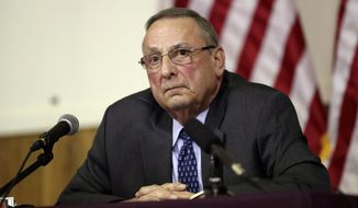 FILE- In this March 8, 2107, file photo, Maine Gov. Paul LePage speaks at a town hall meeting in Yarmouth, Maine. LePage will be in Washington on Tuesday, May 2, to testify at a House subcommittee on federal lands hearing on the use of the Antiquities Act of 1906 to create monuments. (AP Photo/Robert F. Bukaty, File)