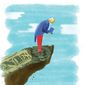 Illustration on America at the precipice of financial disaster by Linas Garsys/The Washington Times