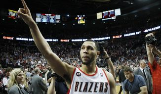 Former Portland Trail Blazers guard Brandon Roy was injured in a shooting this weekend in Los Angeles when he was shot in the leg while shielding children. (Associated Press)