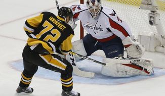 Pittsburgh Penguins' Patric Hornqvist (72) gets the puck past Washington Capitals goalie Braden Holtby (70) for a goal during the first period of Game 4 in an NHL Stanley Cup Eastern Conference semifinal hockey game in Pittsburgh, Wednesday, May 3, 2017. (AP Photo/Gene J. Puskar)