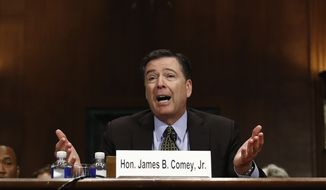 """FBI Director James Comey testifies on Capitol Hill in Washington, Wednesday, May 3, 2017, before the Senate Judiciary Committee hearing: """"Oversight of the Federal Bureau of Investigation."""" (AP Photo/Carolyn Kaster)"""