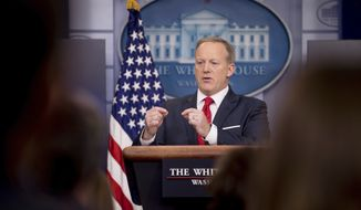 White House press secretary Sean Spicer talks to the media during the daily press briefing at the White House in Washington, Wednesday, May 3, 2017. Spicer discussed health care and FBI Director James Comey, comments made by Hillary Clinton and other topics. (AP Photo/Andrew Harnik)