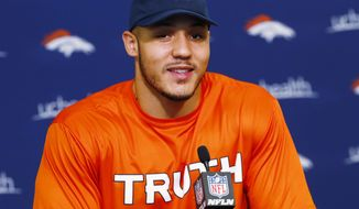 Denver Broncos NFL football linebacker Shane Ray responds to questions during a news conference at the team's headquarters Wednesday, May 3, 2017, in Englewood, Colo. (AP Photo/David Zalubowski)