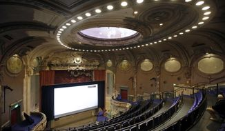 The recently rehabilitated Parkway Theater is seen Baltimore, Wednesday, May 3, 2017. The Maryland Film Festival is kicking off its 19th year in its new home at the Parkway Theater, and the festival's organizers hope the new theater will support and foster the city's already robust art and film community. (AP Photo/Patrick Semansky)
