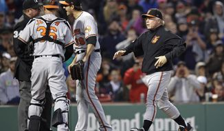 Baltimore Orioles manager Buck Showalter, right, rushes to home plate as starting pitcher Kevin Gausman argues with home plate umpire Sam Holbrook, after hitting Boston Red Sox Xander Bogaerts with a pitch, during the second inning of a baseball game at Fenway Park in Boston, Wednesday, May 3, 2017. Gausman was ejected on the play. At left is Baltimore Orioles catcher Caleb Joseph. (AP Photo/Charles Krupa)
